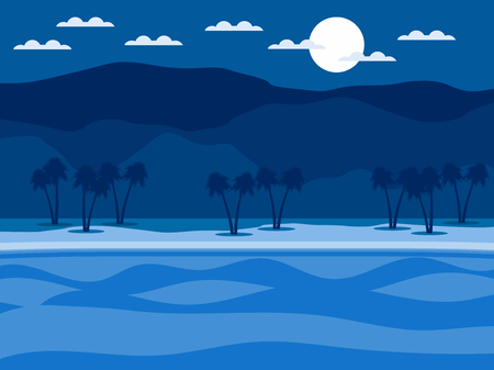 Cool tropical landscape. Coast with palm trees and mountains in the background. Vector illustration