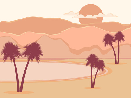 sand dunes: Oasis with palm trees. Desert. Vector illustration Illustration