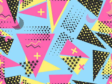 Memphis seamless pattern. Geometric elements memphis in the style of 80's. Vector illustration. Vectores