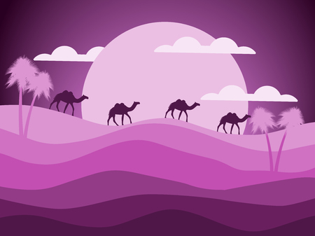 sand dunes: Desert landscape with a caravan of camels in the background of the sun. Vector illustration Illustration