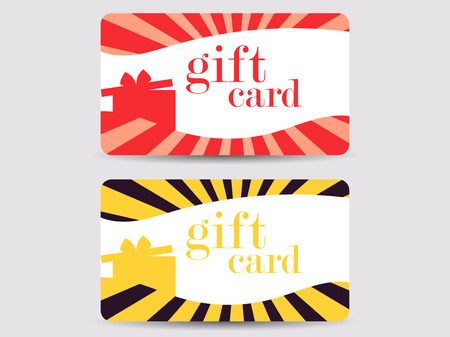 discount banner: Gift card with gift box and rays. Vector illustration