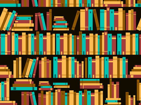 bibliography: Seamless pattern with books, library bookshelf. Vector illustration Illustration