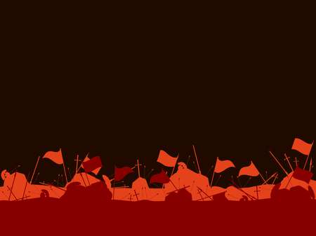 Medieval battlefield. After the battle. Flags, swords, spears and arrows. Vector illustration Vetores