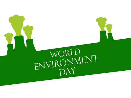 contamination: World Environment Day 5th june. Environmental pollution. Pipes with smoke. Vector illustration