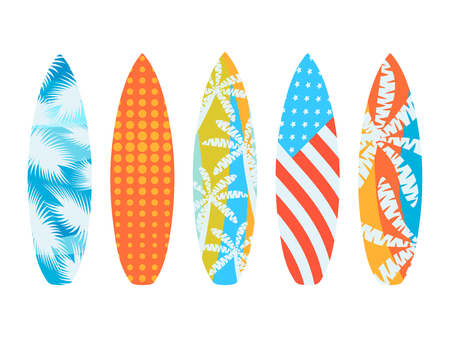 Surfboards on a white background. Types of surfboards with a pattern. Vector illustration
