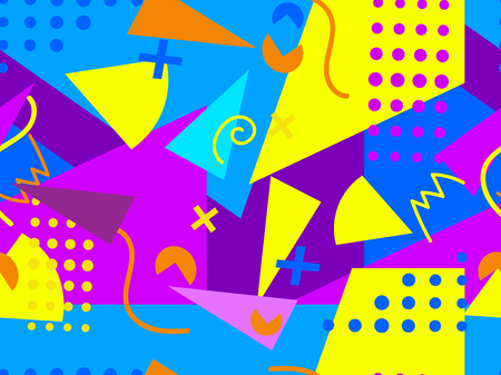 memphis: Memphis seamless pattern. Geometric elements memphis in the style of 80s. Vector illustration Illustration