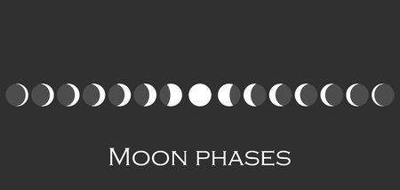 The phases of the moon. The whole cycle from new moon to full. Vector illustration Illustration
