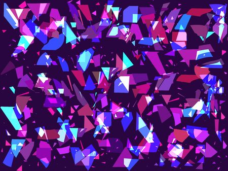 Flying broken particles on a dark background. Triangles, geometric shapes. Interference, glitch art. Vector illustration