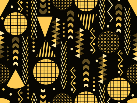 80 s: Memphis seamless pattern. Geometric elements memphis in the style of 80s. Vector illustration Illustration