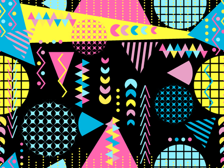 Memphis seamless pattern. Geometric elements memphis in the style of 80s. Vector illustration Illusztráció