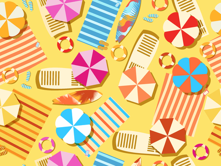 Seamless beach, top view. Chaise lounge with umbrella, surfboard, flip-flops and bedspreads. Beach vacation. Vector illustration Illustration