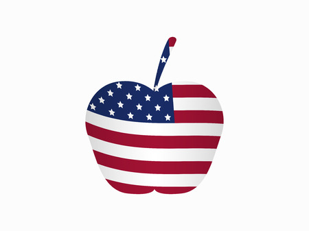 federal election: Apple with the American flag. Vector illustration
