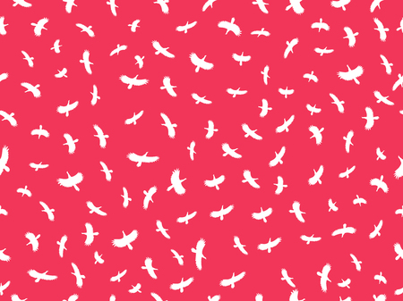 Seamless pattern with birds. Contours of white birds on a red background. Vector illustration Illustration