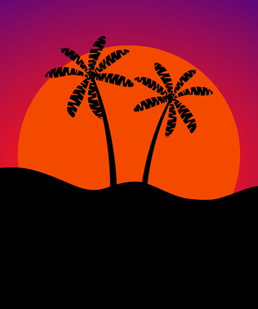 beach sunset: Palm trees against the background of the sun. Banner with space for text. Vector Illustration Illustration