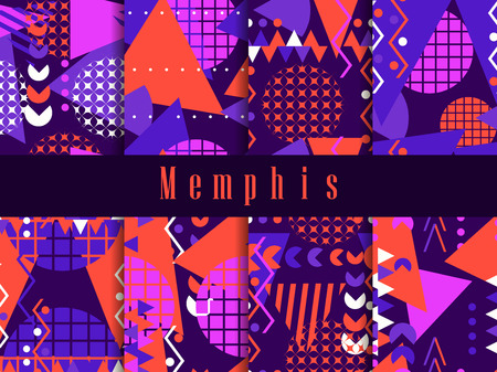 Memphis seamless pattern. Geometric elements memphis in the style of 80s. Vector illustration Illustration