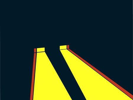 Le style rétro projecteur. Noir. Rayon de lumière jaune. Illustration vectorielle