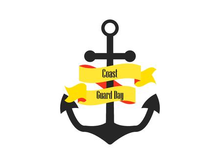 Coast Guard Day. Anchor with ribbon. Vector illustration Иллюстрация