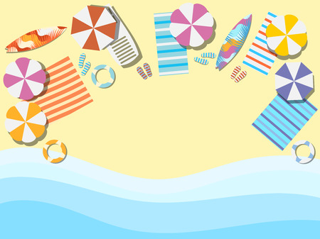 Beach, seashore with waves. Chaise lounge with umbrella, surfboard. View from above. Bedspread with flip flops. Vector illustration