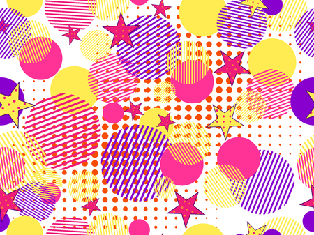 Memphis seamless pattern. Pop art dotted and geometric elements memphis in the style of 80s. Vector illustration Illustration