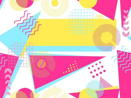 Memphis seamless pattern. Geometric elements memphis in the style of 80's. Bauhaus retro. Vector illustration.