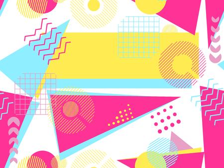 Memphis seamless pattern. Geometric elements memphis in the style of 80's. Bauhaus retro. Vector illustration.