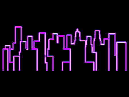 office building: Neon city outline landscape. Megapolis, skyscrapers. Vector illustration