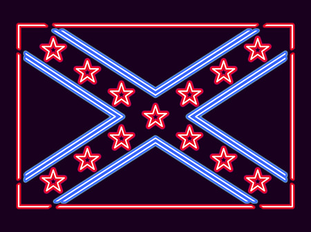 Flag Confederate States of America neon sign. Vector illustration Illustration