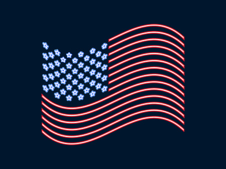 Neon US flag, glowing sign Patriot Day. Vector illustration