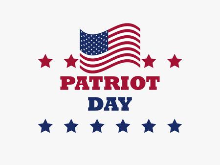Patriot Day US flag on white background. Memorial day 911. Vector illustration Illustration