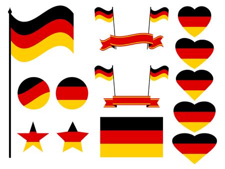 Germany flag set. Collection of symbols, flag in heart. Vector illustration Illustration