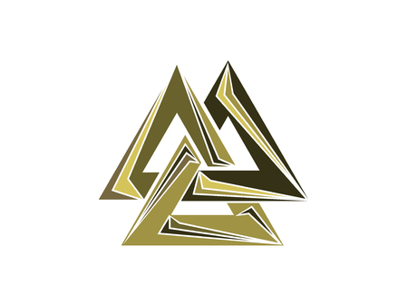 germanic: Valknut is a symbol of the worlds end of the tree Yggdrasil. Sign of the god Odin. Norse culture. Triangle logo. Vector illustration