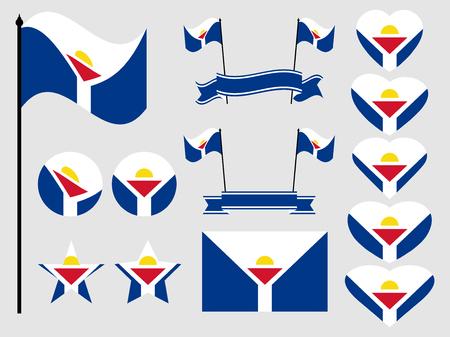 Sint Maarten flag set. Collection of symbols, flag in heart. Vector illustration