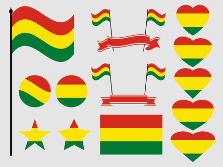 Bolivia flag set. Collection of symbols, flag in heart. Vector illustration