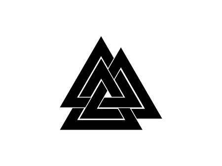 Valknut is a symbol of the worlds end of the tree Yggdrasil. Sign of the god Odin. Norse culture. Triangle logo. Vector illustration