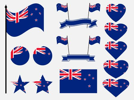 New Zealand flag set. Collection of symbols, flag in heart. Vector illustration