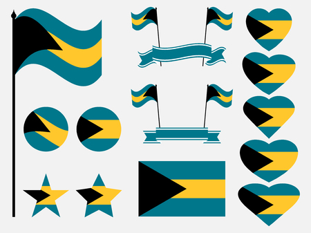 Bahamas flag set. Collection of symbols, flag in heart. Vector illustration