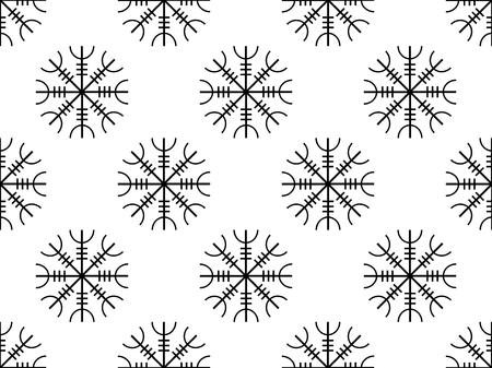 Galdrastafir seamless pattern ancient runes, intertwined runes. Vector illustration