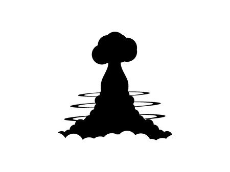 cartoon bomb: Nuclear explosion contour on a white background. Poster vector illustration Illustration