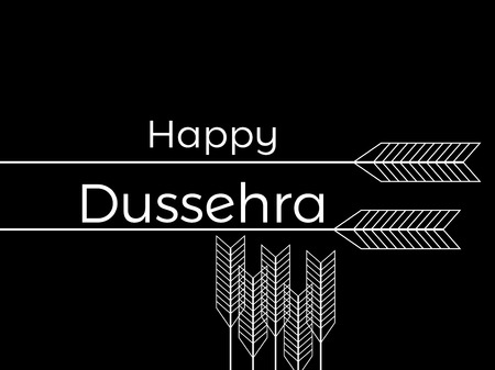 great: Happy Dussehra. Indian festival celebration. The inscription on black background with arrows. Vector illustration Illustration
