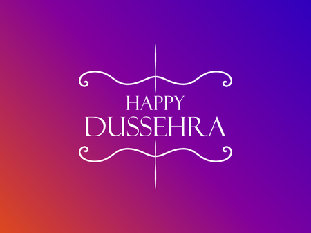 Happy Dussehra. Indian Festival celebration. The inscription on a gradient background. Vector illustration