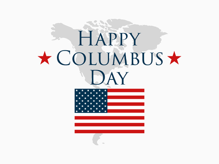 Columbus Day, the discoverer of America, usa flag and continent, holiday banner.