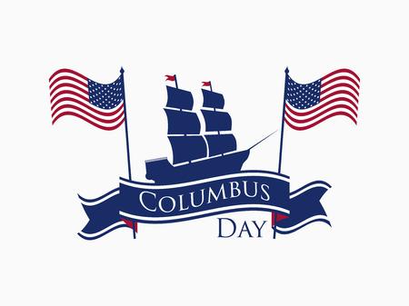 Illustrazione di Happy Columbus Day. Archivio Fotografico - 86626373