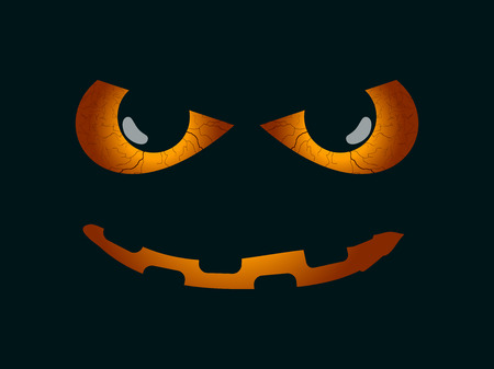 Scary face. Evil scary eyes, black pupils. Halloween element for design. Vector illustration Illustration