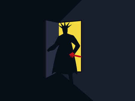 The murderer with the knife behind the door, the light from the open door. Nightmare. Halloween. Armed man retro poster. Vector illustration
