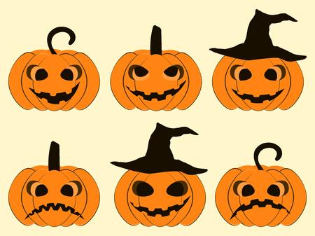 Halloween pumpkin set isolated on white background. Jack o lantern icons. Vector illustration Illustration