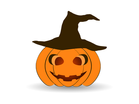Halloween Pumpkin in a hat isolated on white background. Jack o lantern icon. Vector illustration Illustration