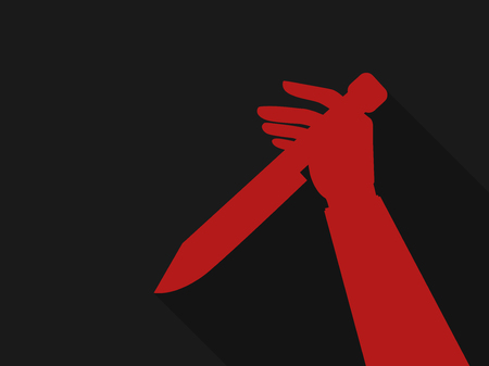 Hand holding a knife. Red outline in retro style, noir. Halloween background. Vector illustration