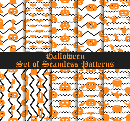 Halloween set of patterns with pumpkins, witches and celebratory symbols.