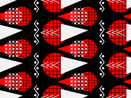 Memphis seamless pattern of black and red. Abstract chaotic background with geometric shapes. Vector illustration