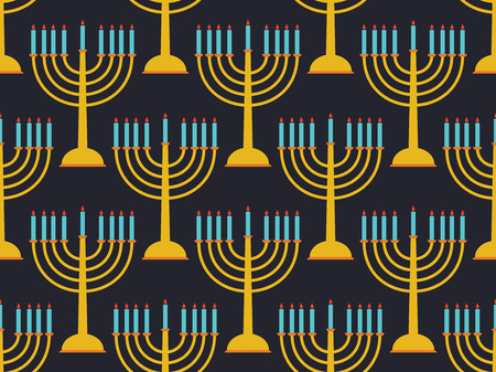 Hanukkah seamless pattern candlestick with nine candles Vector illustration